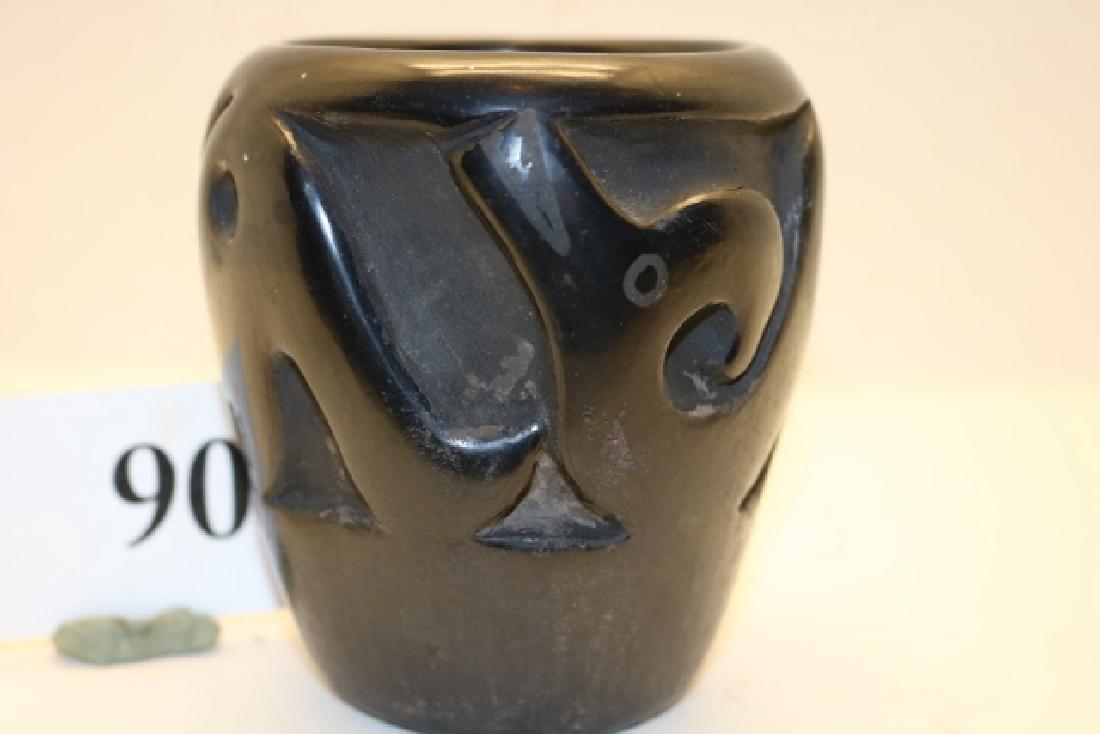 Carved Sea Serpent Black on Black Jar