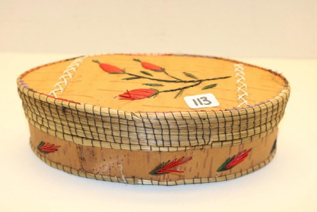 Birch Bark Oval Lidded BasketNO SHIPPING OUT OF COUNTRY