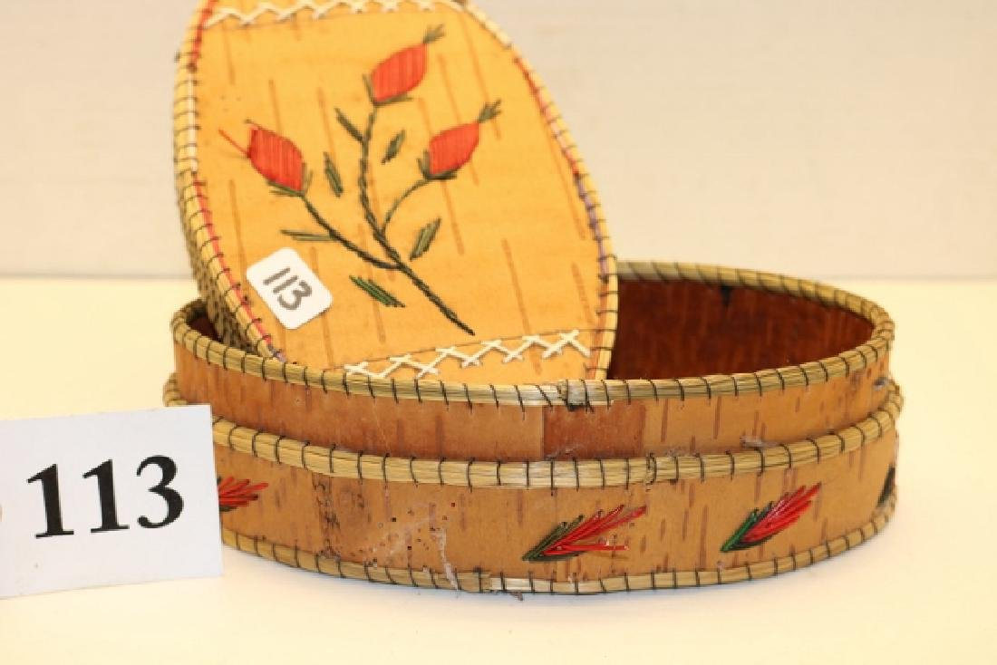 Birch Bark Oval Lidded BasketNO SHIPPING OUT OF COUNTRY - 2
