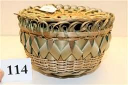 Lidded Iroquoian Plaited Basket Bowl