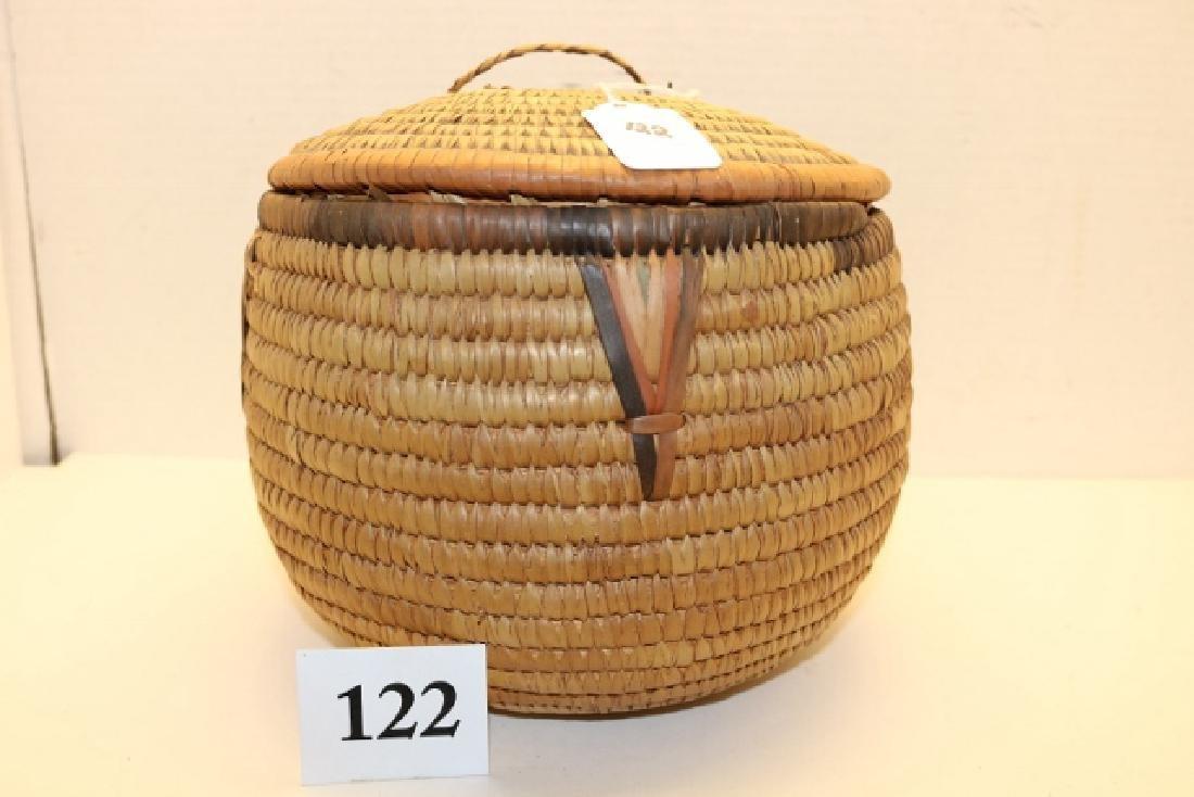 Papago Lidded Polychrome Basket