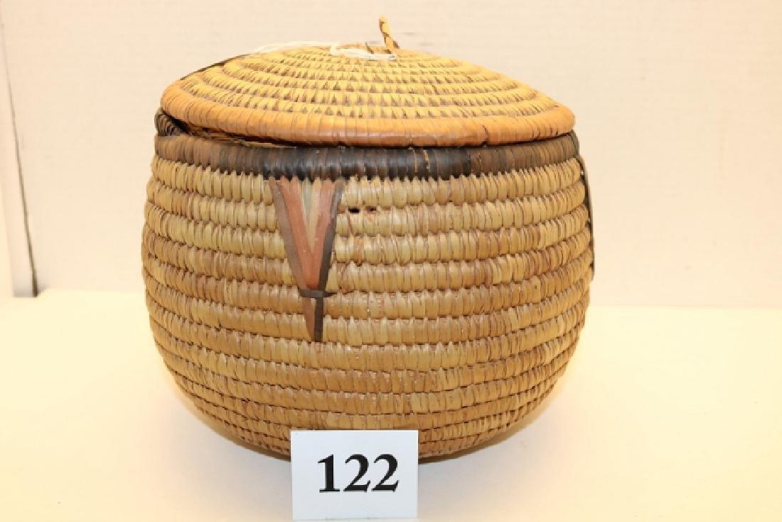 Papago Lidded Polychrome Basket - 2