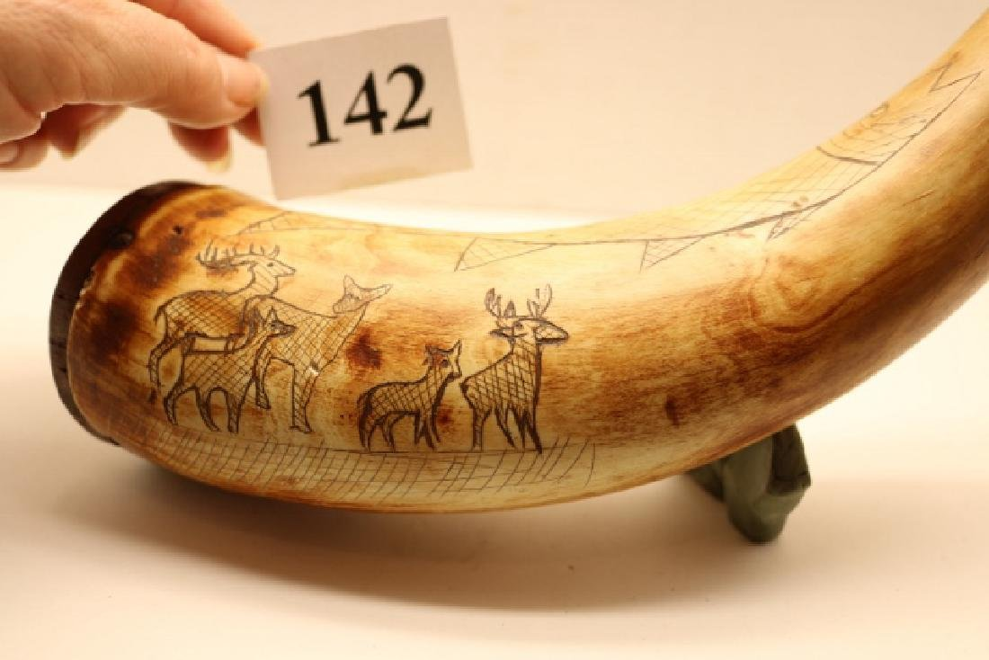 Scrimshawed Powder Horn NO SHIPPING OUT OF COUNTRY