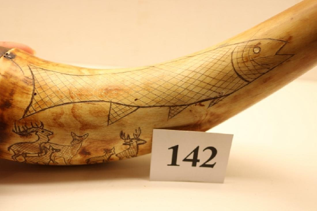 Scrimshawed Powder Horn NO SHIPPING OUT OF COUNTRY - 2