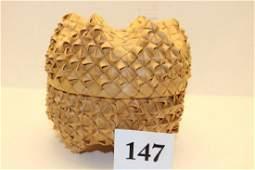 Lidded Iroquois Plaited Basket