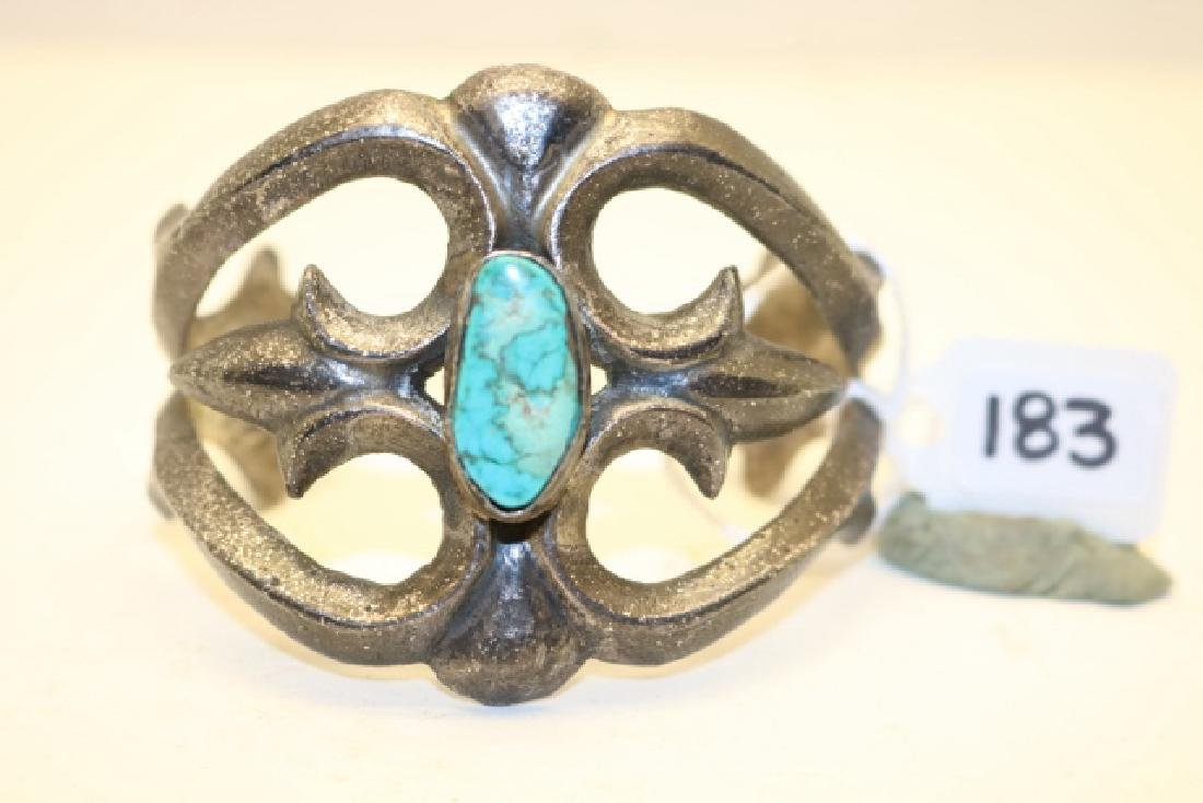 Cast Silver Bracelet with turq.