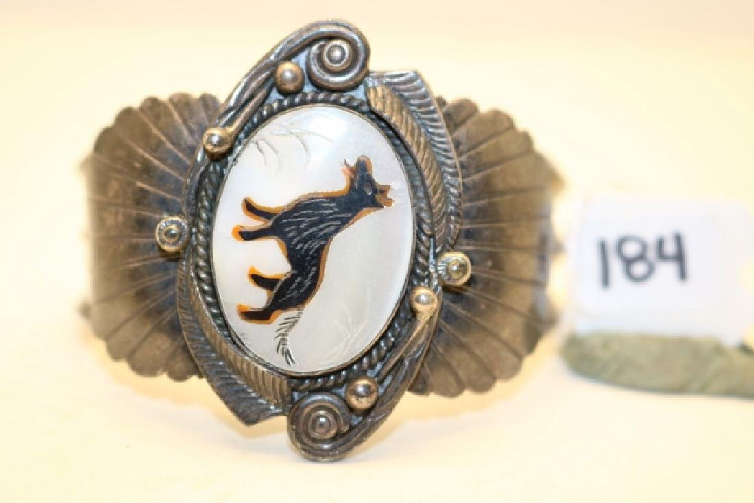Silver Bracelet with etched Wolf