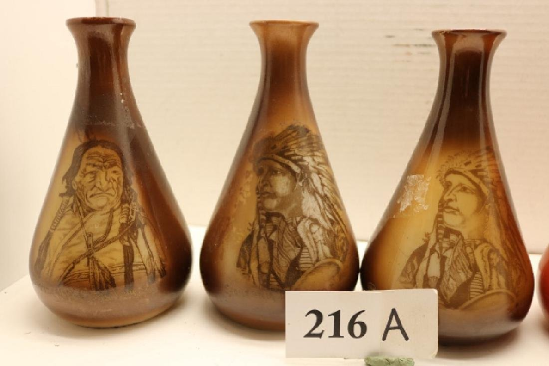 5 Glass Hand Painted Indian Portrait Vases – all 7 - 3