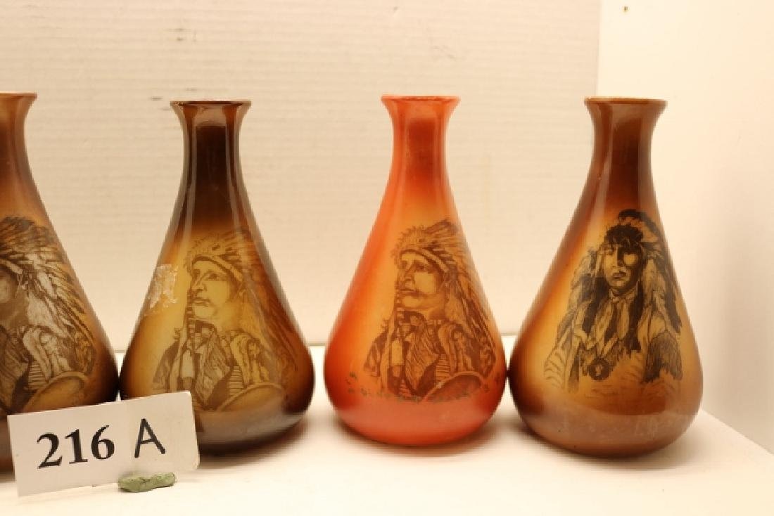 5 Glass Hand Painted Indian Portrait Vases – all 7 - 4
