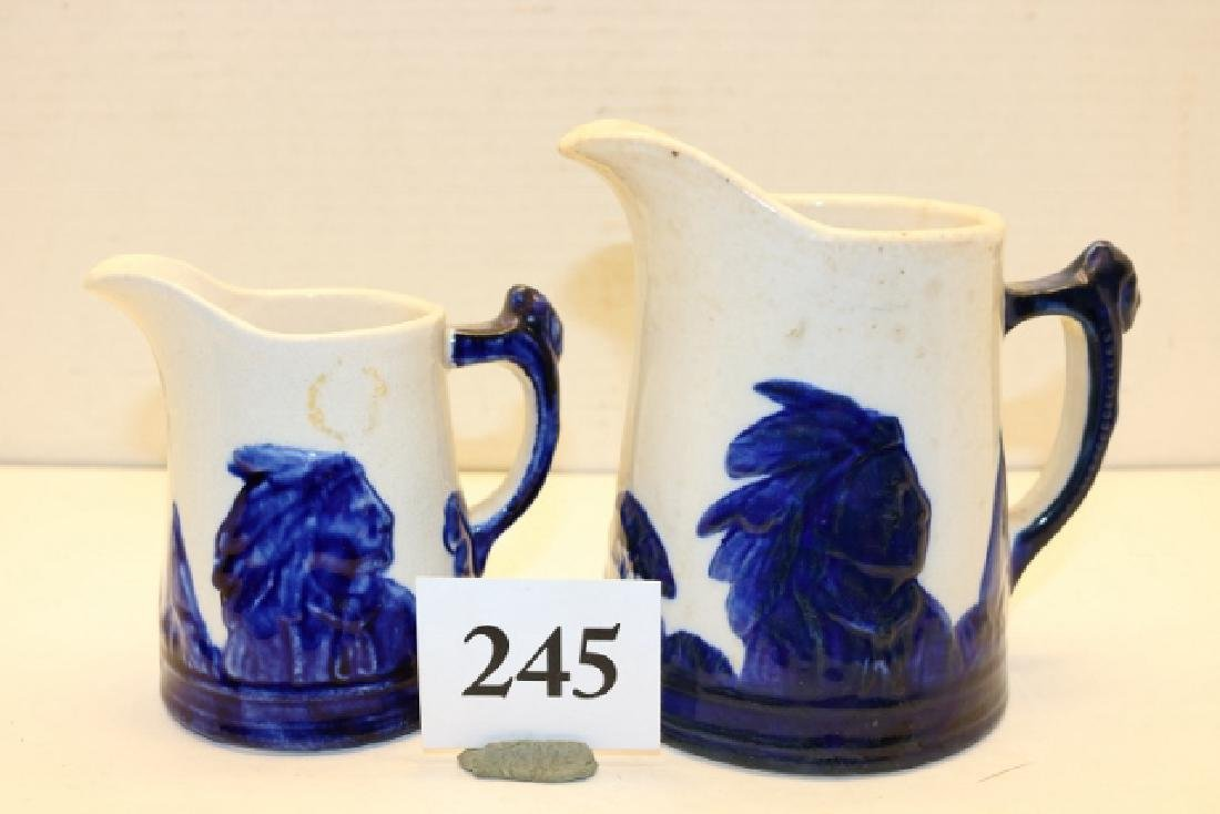 Pair Sleepy Eye Pottery Pitchers