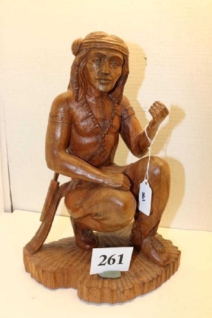 Carved Kneeling Wood Indian