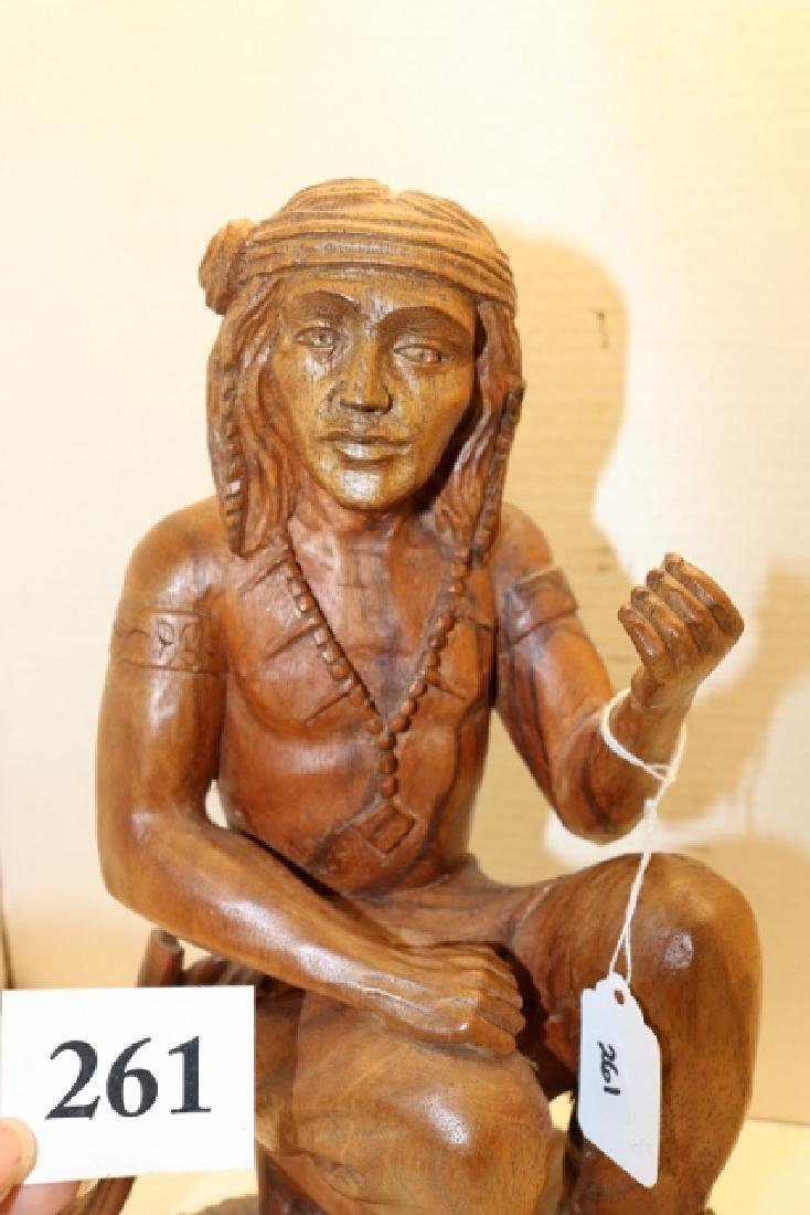 Carved Kneeling Wood Indian - 2
