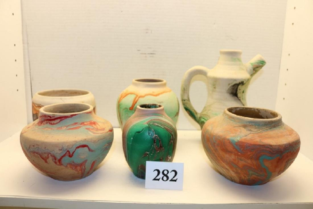 6 Assorted Ceramic Pots, Vase, Pitcher – largest 6