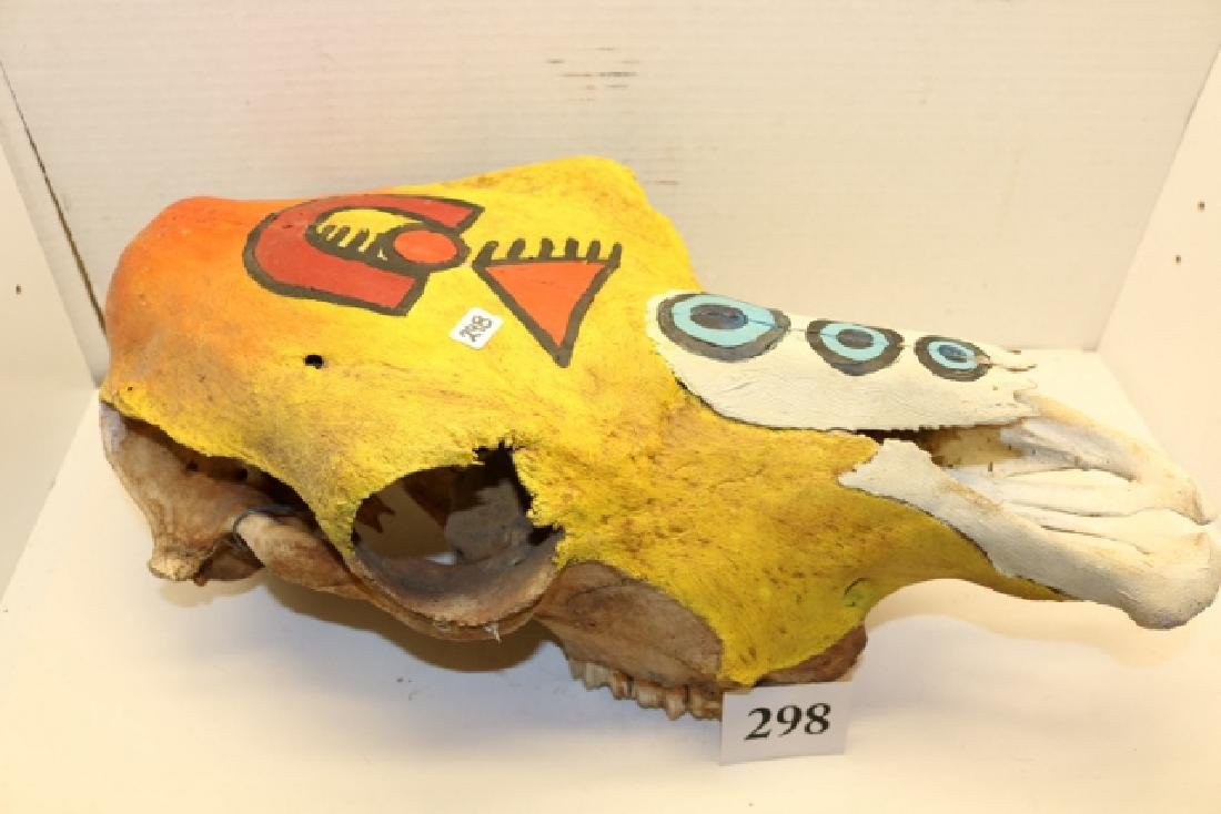 """18"""" Painted Buffalo Skull NO SHIPPING OUT OF COUNTRY"""