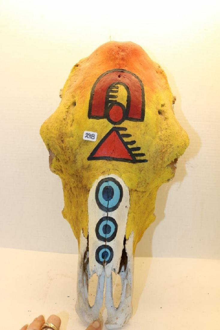 "18"" Painted Buffalo Skull NO SHIPPING OUT OF COUNTRY - 3"