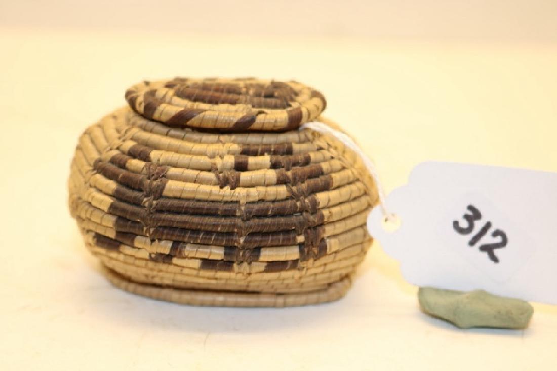 Miniature Oval Lidded Indian Basket