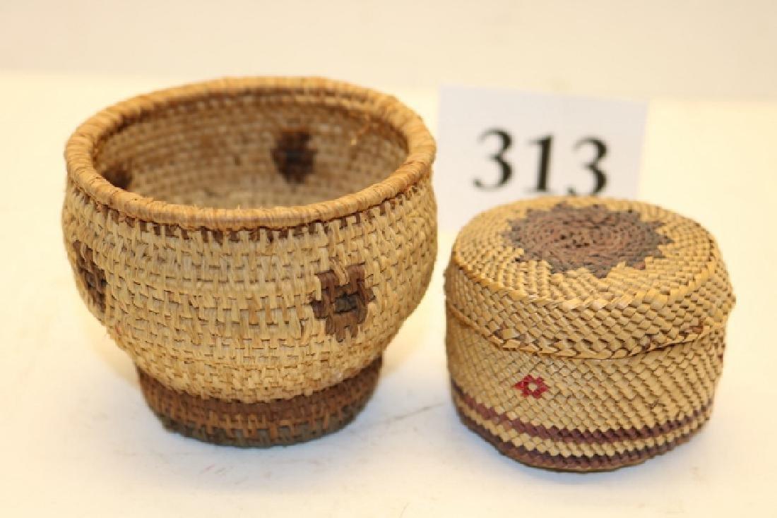 Miniature Round Nootka Lidded Basket
