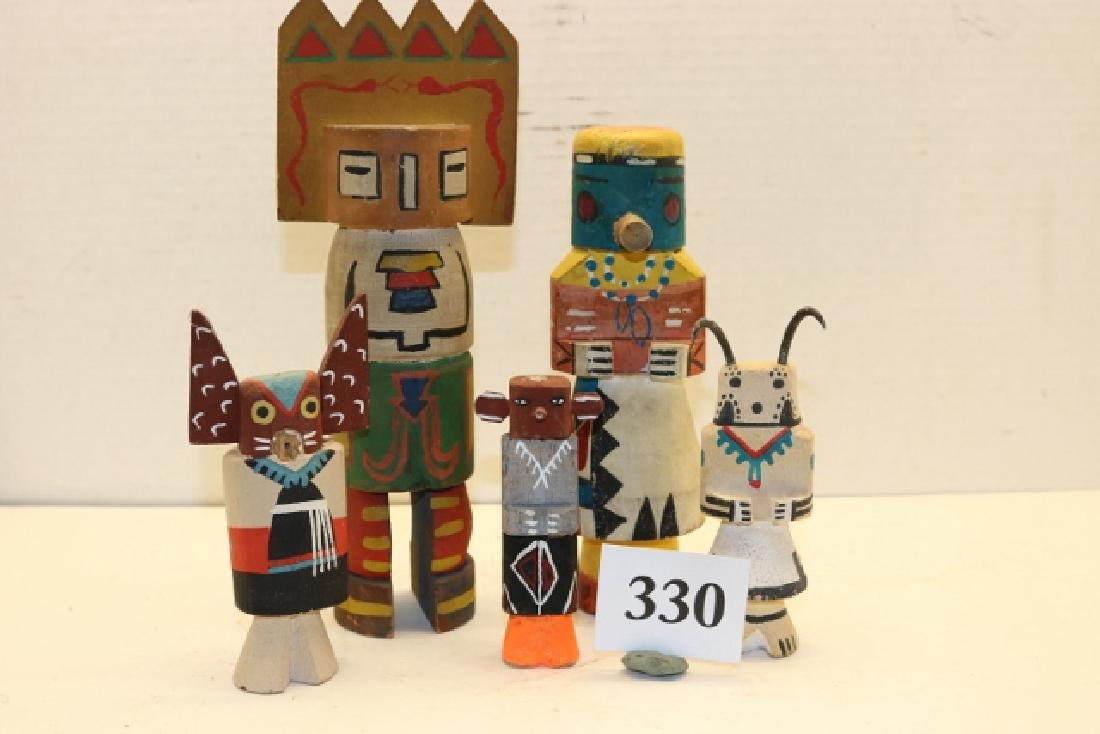 5 Carved & Painted Wood Kachinas