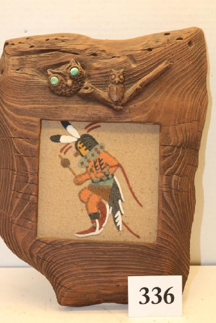 Carved Weathered Wood Frame /Sand painting