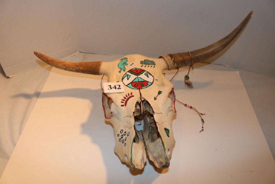 Painted Steer Skull NO SHIPPING OUT OF COUNTRY