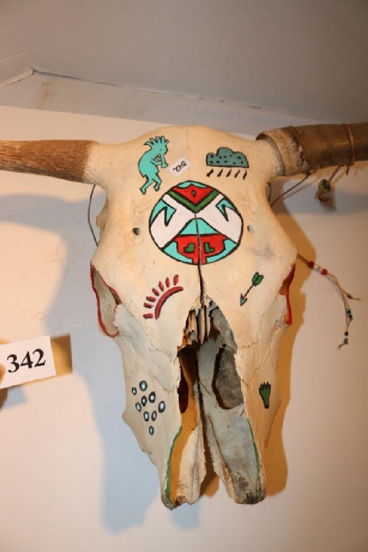 Painted Steer Skull NO SHIPPING OUT OF COUNTRY - 2