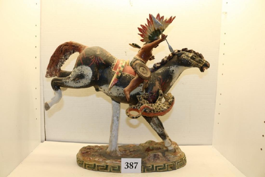 Indian on Horse Back Sculpture