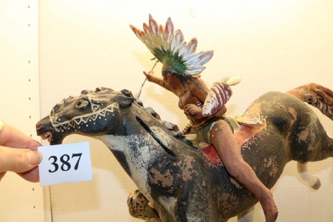 Indian on Horse Back Sculpture - 3