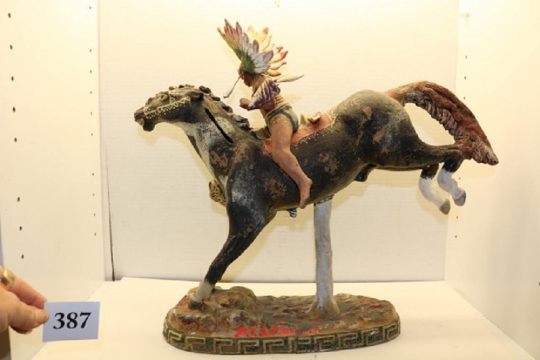 Indian on Horse Back Sculpture - 4