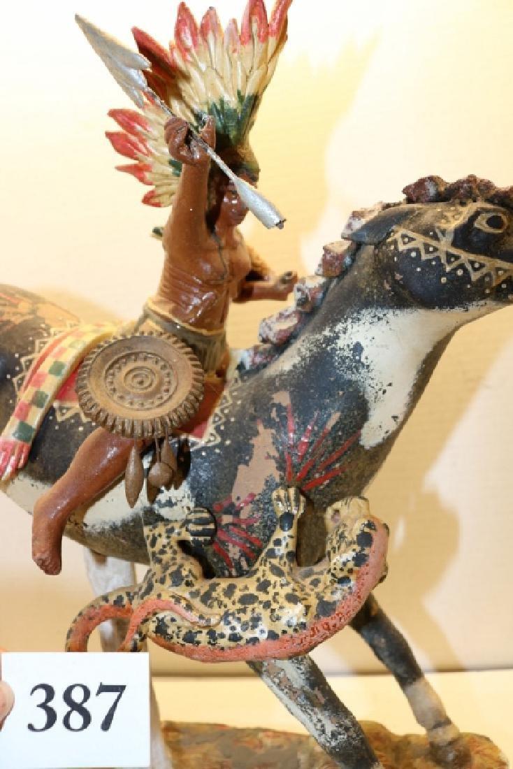 Indian on Horse Back Sculpture - 5
