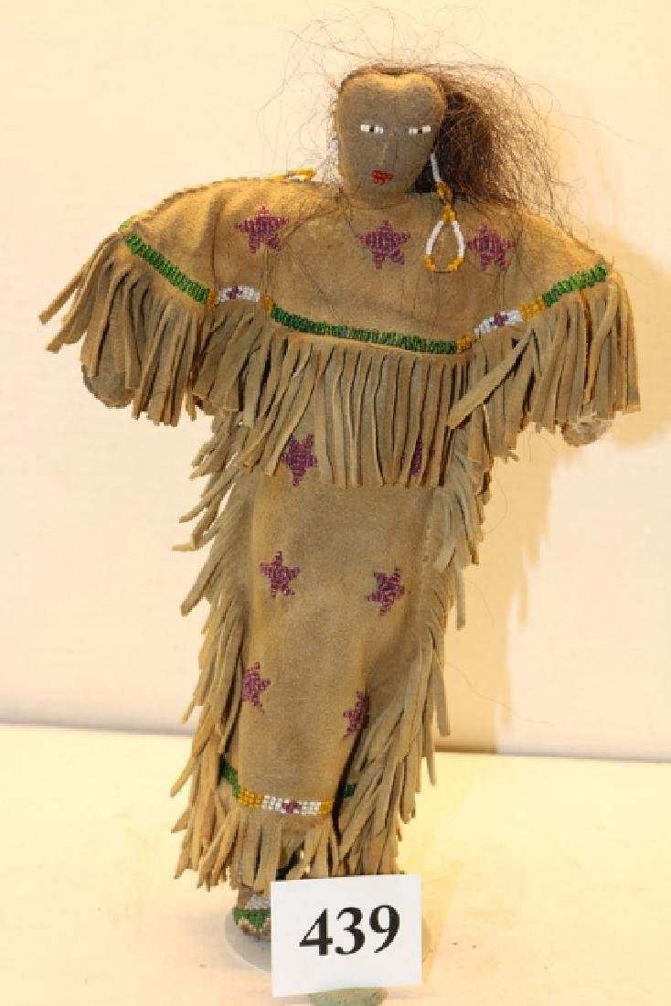 Leather Bead Decorated Fringed Plains Doll