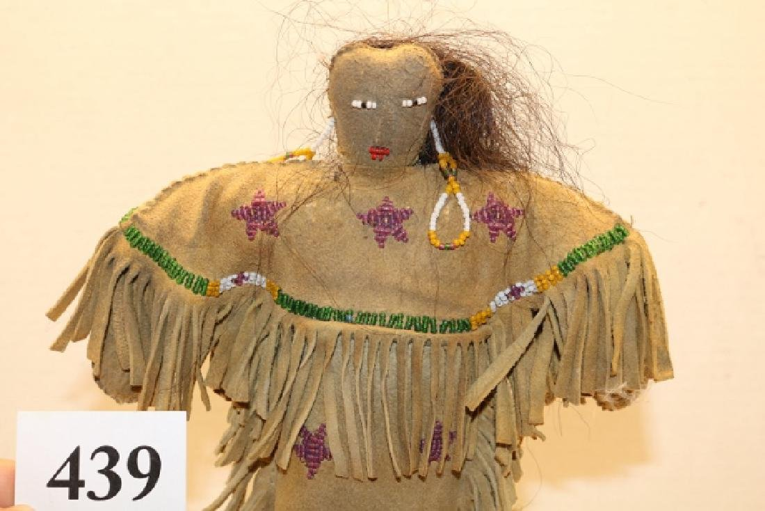 Leather Bead Decorated Fringed Plains Doll - 2