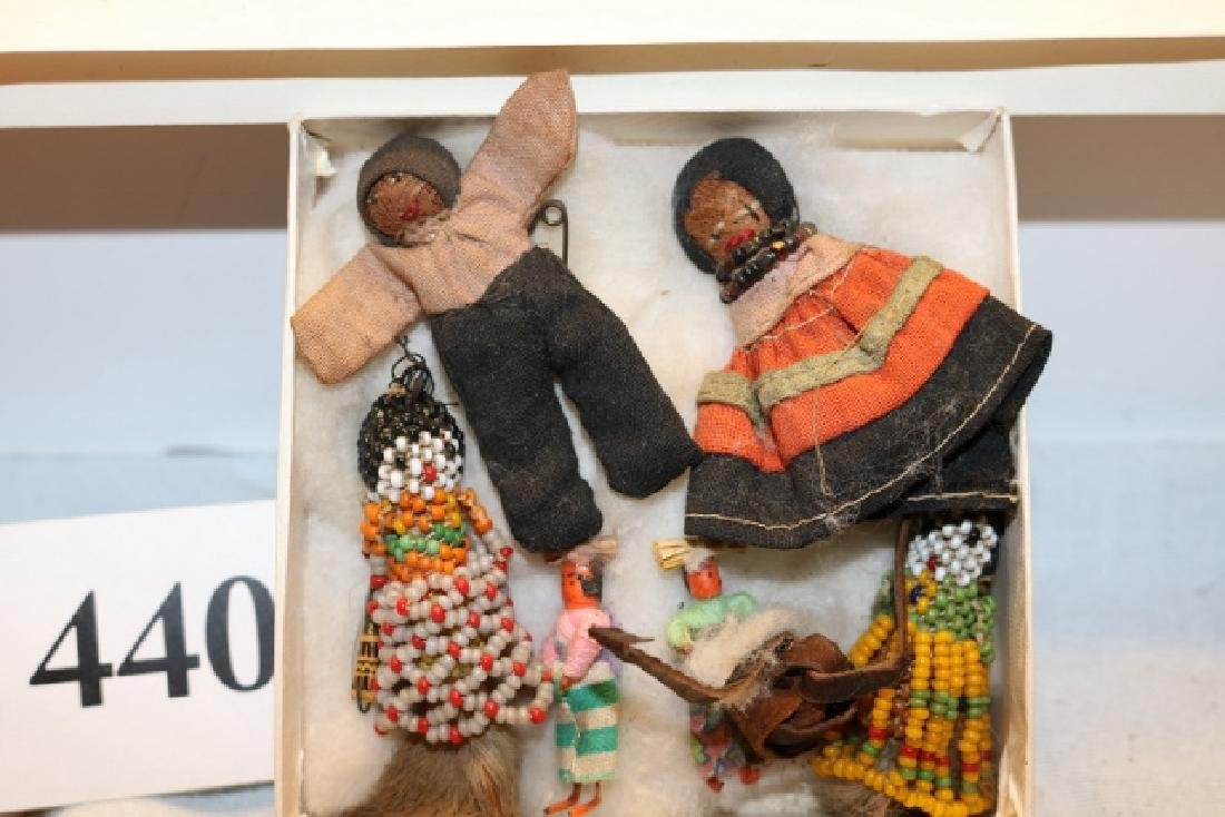 5 Miniature Dolls and Beaded Fetish