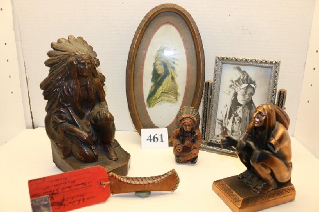 6 Assorted Indian Items: Figures, Prints