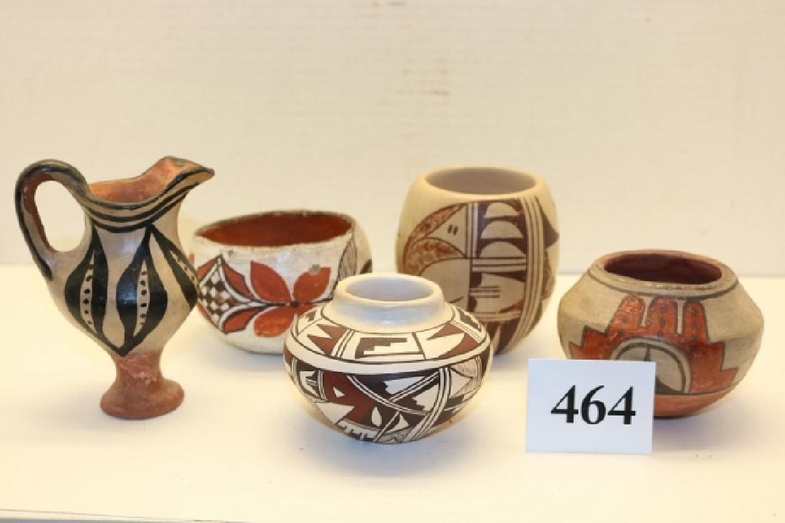 4 Acoma – 1 Hopi Small Pots