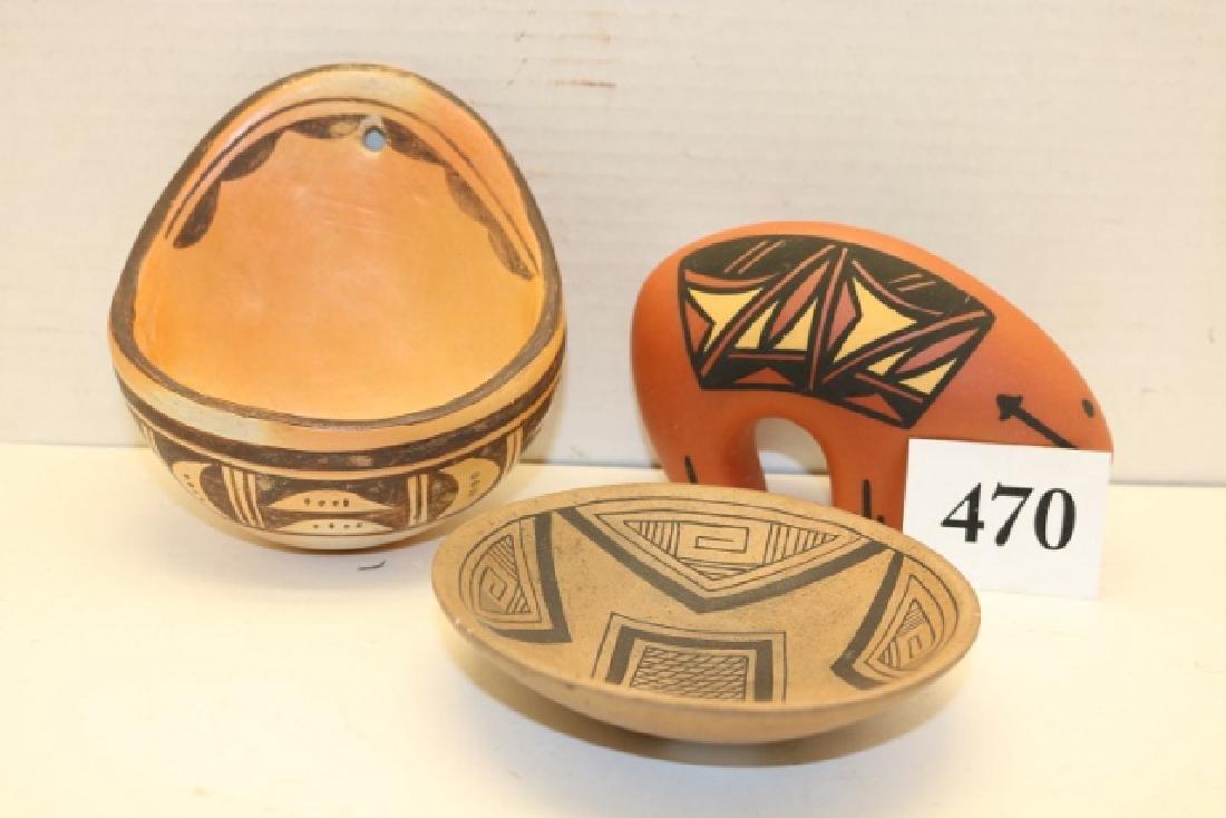 3 Hopi Pottery Items: Bear Effigy