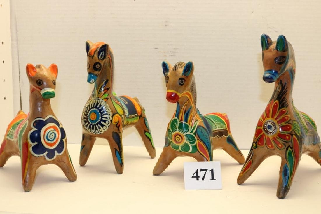 4 Mexican Pottery Polychrome Horses