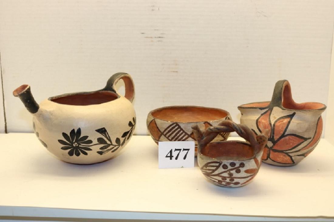 3 Santo Domingo Items: Bowl, Pottery Basket