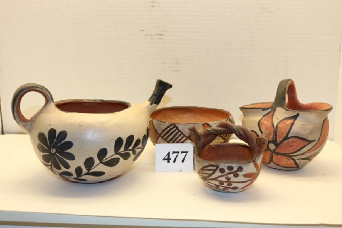 3 Santo Domingo Items: Bowl, Pottery Basket - 2