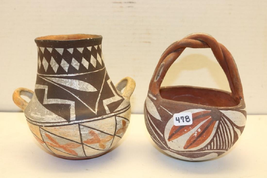 2 Laqune Polychrome Pottery Bowl and Jar