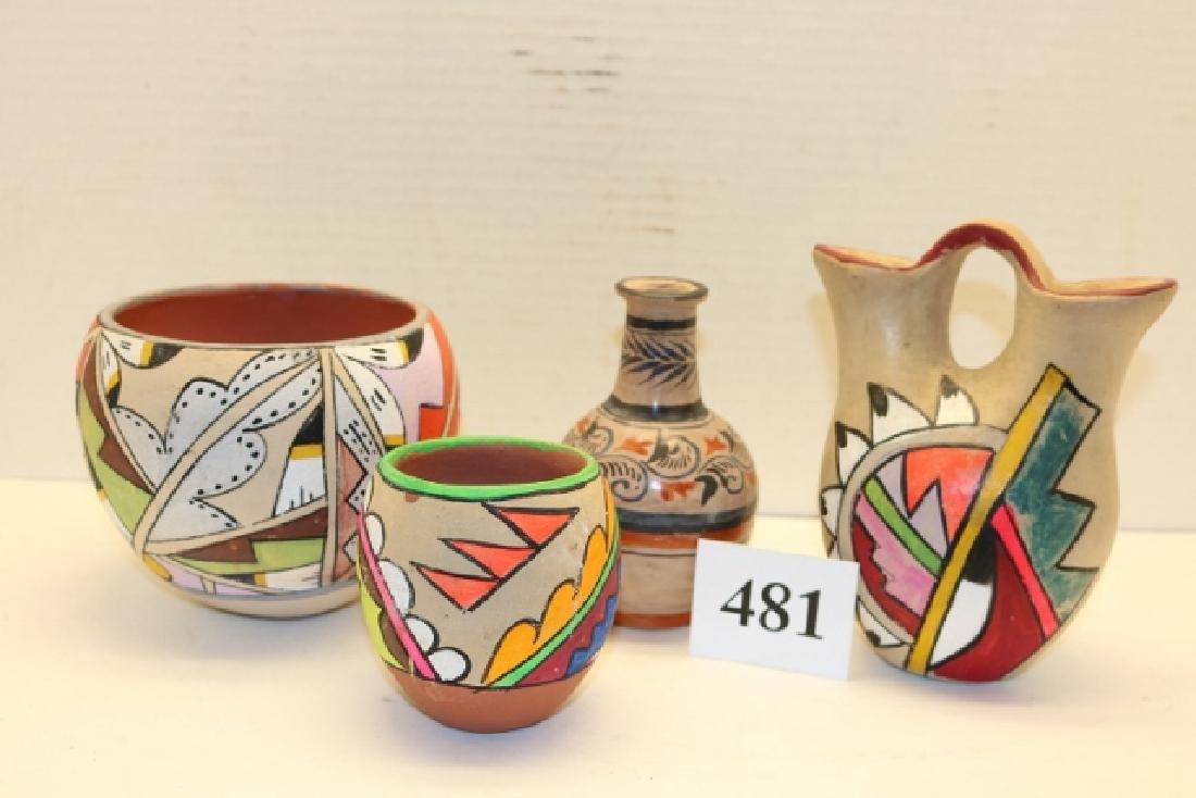 4 Pcs. Painted Pottery