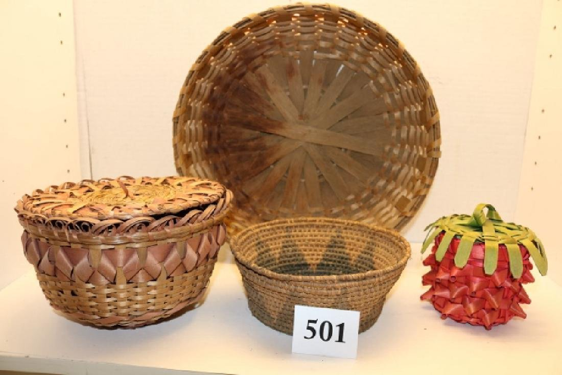 4 Assorted Indian Baskets