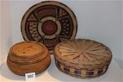 Indian Tray Polychrome Lidded Plaited Basket