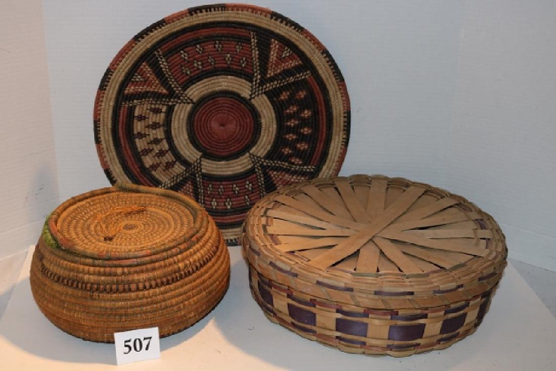Indian Tray, Polychrome Lidded Plaited Basket