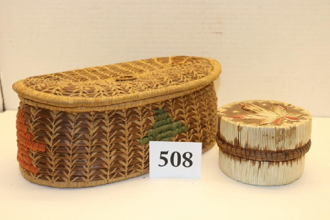 Pine Needle Lidded Basket NO SHIPPING OUT OF COUNTRY