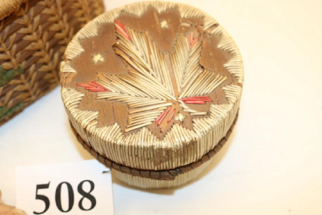 Pine Needle Lidded Basket NO SHIPPING OUT OF COUNTRY - 2