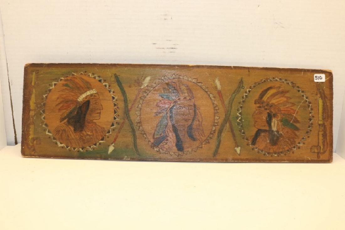 """6"""" x 19"""" Pyro Indian Plaque"""