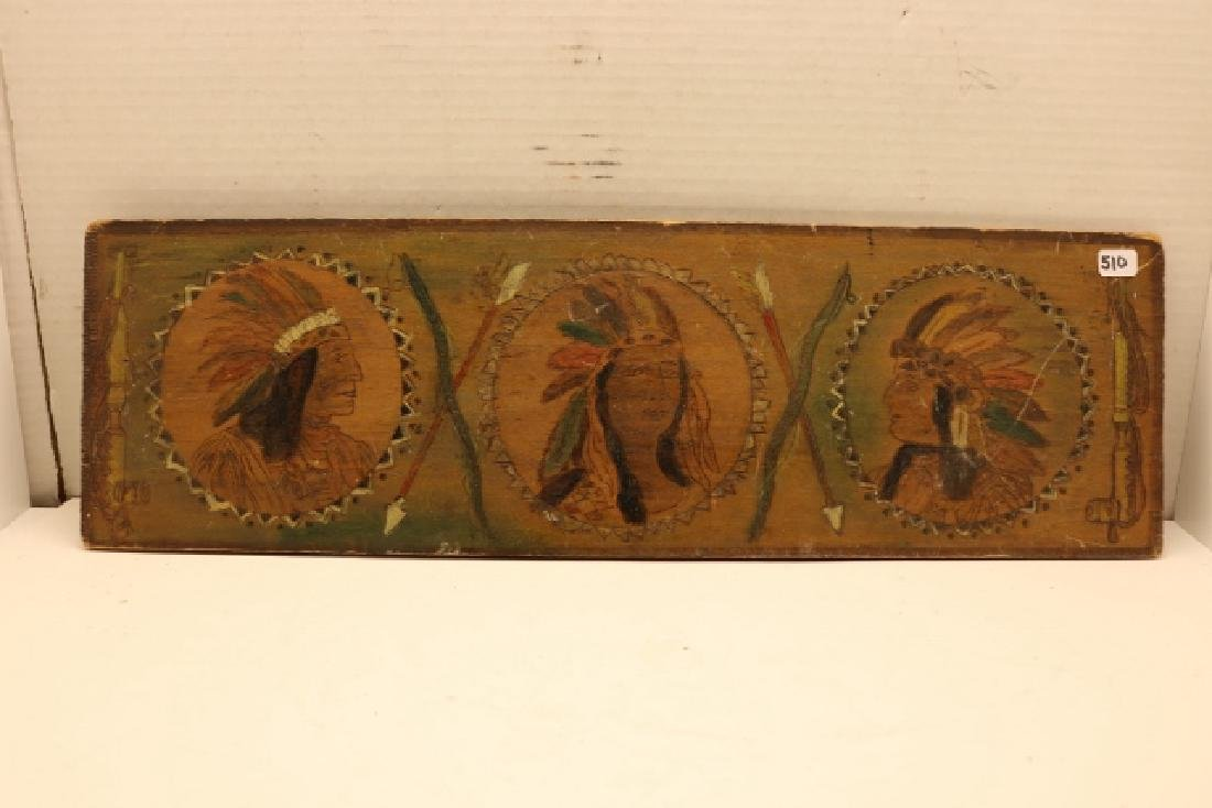 """6"""" x 19"""" Pyro Indian Plaque - 2"""