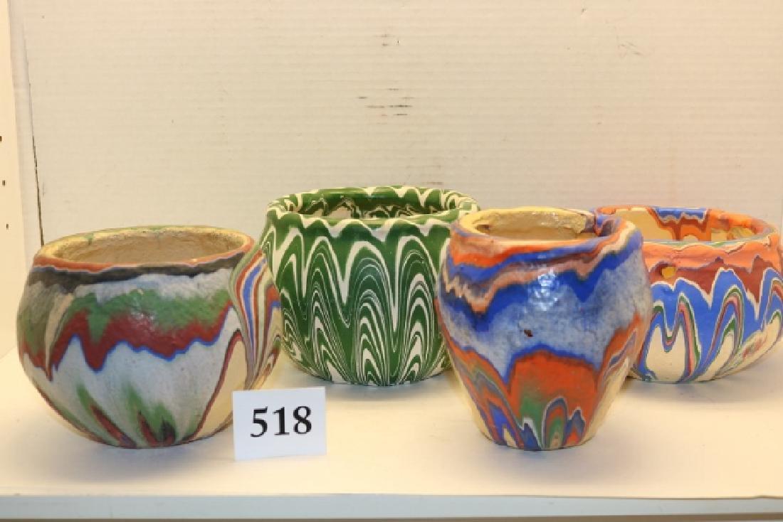 4 Pcs. Colored Pottery Bowls