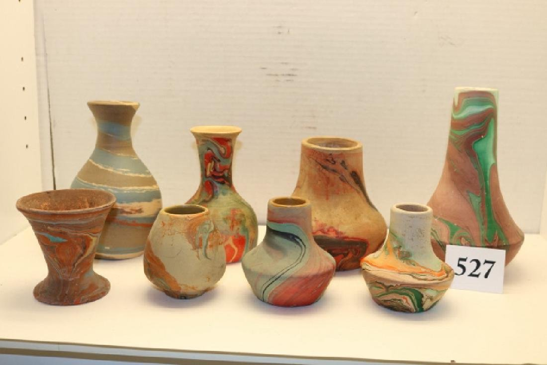 8 Assorted Pottery Items: Vases- Bowls