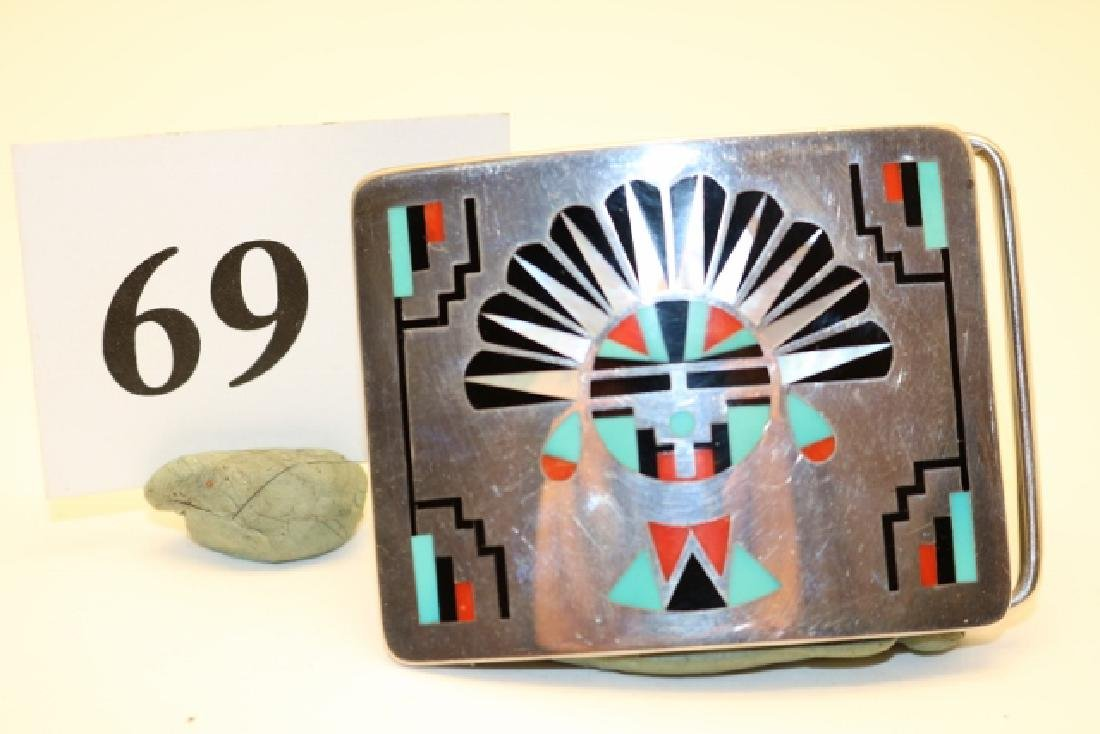 Zuni Inlay SS Belt Buckle